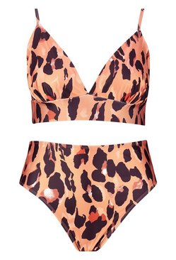 Brown Plus Leopard Print Triangle High Leg Bikini