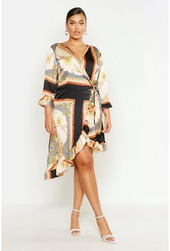 Grey Plus Satin Chain Print Ruffle Wrap Dress