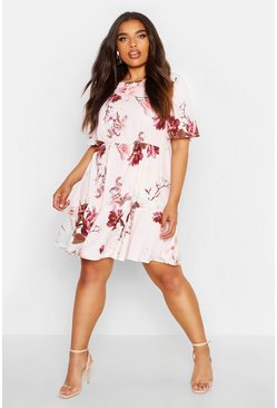 Blush pink Plus Tiered Floral Crepe Smock Dress