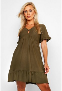 Khaki Plus Ruffle Detail Smock Dress