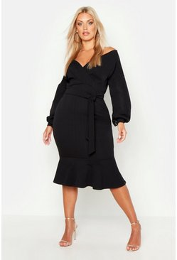 Black Plus Off The Shoulder Frill Hem Midi Dress