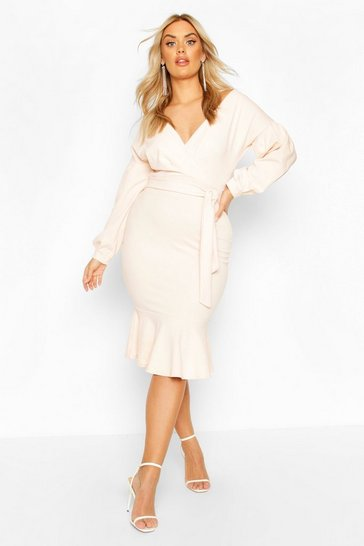 Blush Plus Off The Shoulder Frill Hem Midi Dress