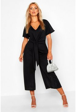 Black Plus Tie Front Angel Sleeve Culotte Jumpsuit