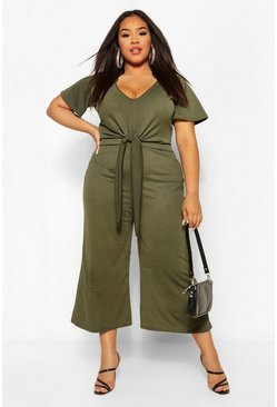 Khaki Plus Tie Front Angel Sleeve Culotte Jumpsuit