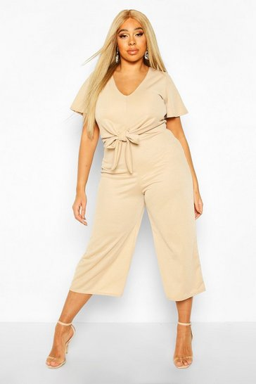 Stone beige Plus Tie Front Angel Sleeve Culotte Jumpsuit