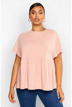 Blush pink Plus Super Soft Rib Smock Top