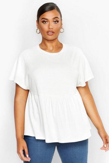 White Plus Super Soft Rib Smock Top