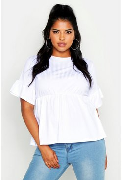 White Plus Rib Frill Sleeve Smock Top