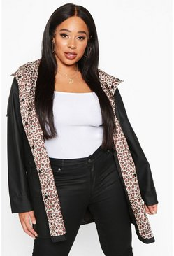 Black Plus Leopard Lined Rain Mac