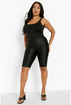 Black Plus Extra Thick Longline Cycling Shorts