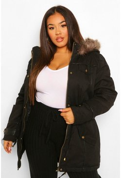 Black Plus Parka Coat With Faux Fur Trim Hood