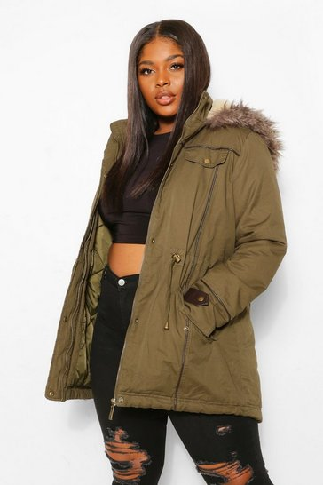 Khaki Plus Parka Coat With Faux Fur Trim Hood