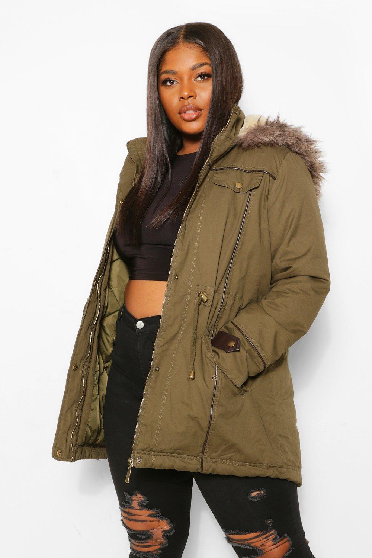 SALE Plus Parka Coat With Faux Fur Trim Hood