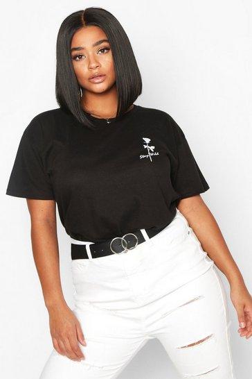 Black Plus Stay Wild Rose Pocket Print T-Shirt