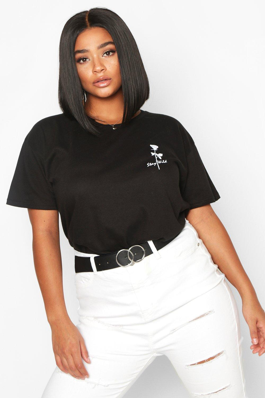 Plus Stay Wild Rose Pocket Print T-Shirt 2