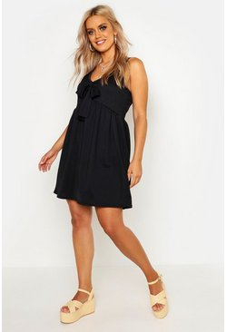 Black Plus Tie Front Sundress