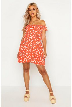 Red Plus Floral Off Shoulder Sun Dress