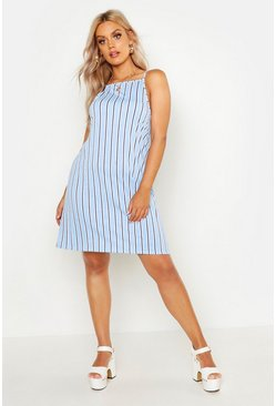 Blue Plus Stripe Strappy High Neck Sundress