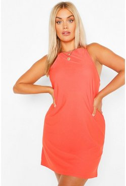 Orange Plus Strappy High Neck Sundress