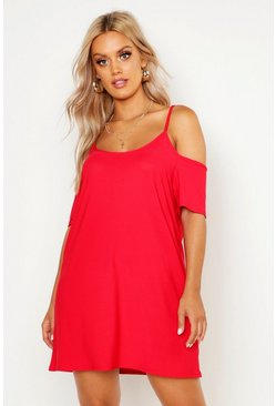 Red Plus Cold Shoulder Strappy Sundress