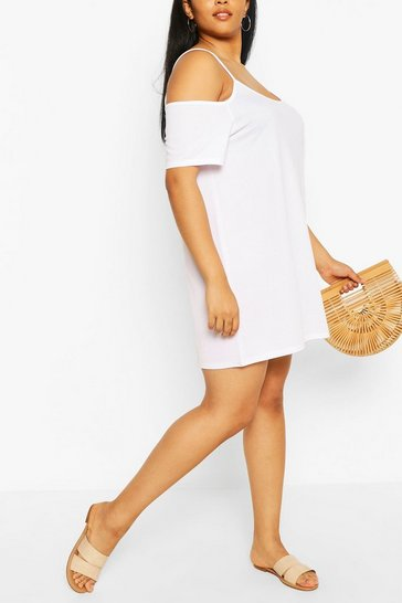 White Plus Cold Shoulder Strappy Sundress