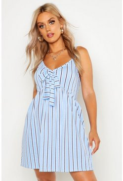 Blue Plus Stripe Print Tie Front Strappy Sundress