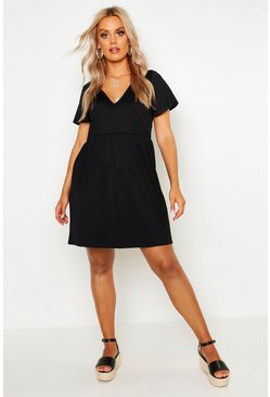 Black Plus Plunge Front Cap Sleeve Sundress