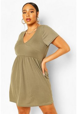 Khaki Plus Plunge Front Cap Sleeve Sundress