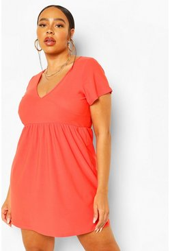 Orange Plus Plunge Front Cap Sleeve Sundress