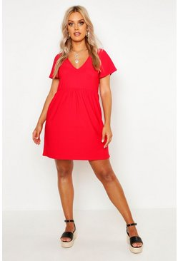 Red Plus Plunge Front Cap Sleeve Sundress