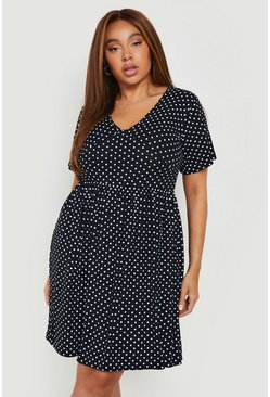 White Plus Plunge Polka Dot Cap Sleeve Sundress