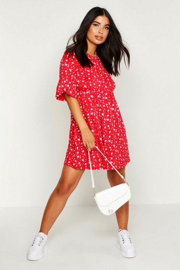 Red Petite Ditsy Floral Smock Dress