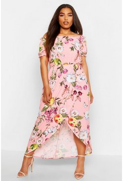 Rose pink Plus Floral Off Shoulder Maxi Dress