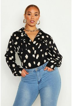 Black Plus Smudge Spot Print Oversized Utility Shirt