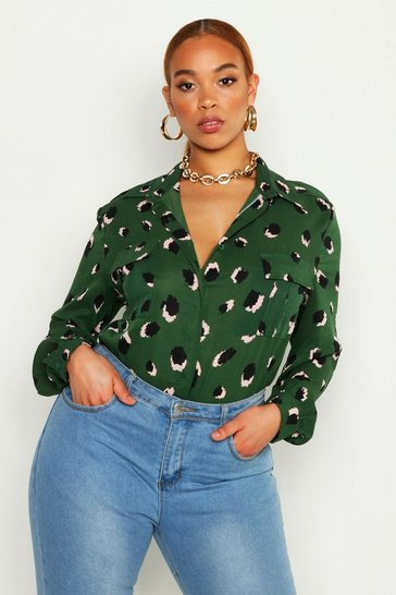 Green Plus Smudge Spot Print Oversized Utility Shirt