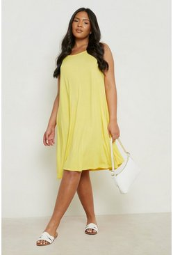 Yellow Plus Basic Swing Dress