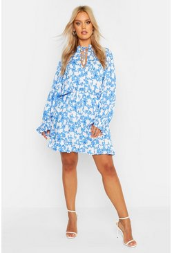 Blue Plus Ruffle Porcelain Print Dress