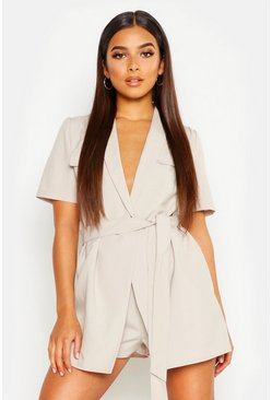 Stone beige Petite Utility Belted Romper