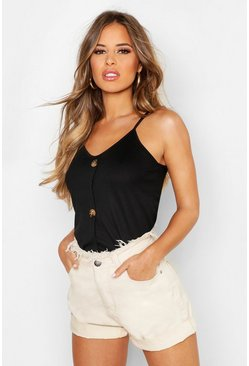 Black Petite Rib Mock Horn Button Cami Top