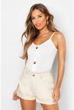 Ivory white Petite Rib Mock Horn Button Cami Top