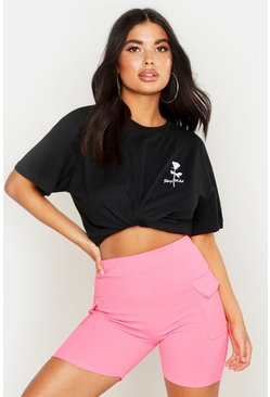 Black Petite Rose Pocket Print Slogan T-Shirt