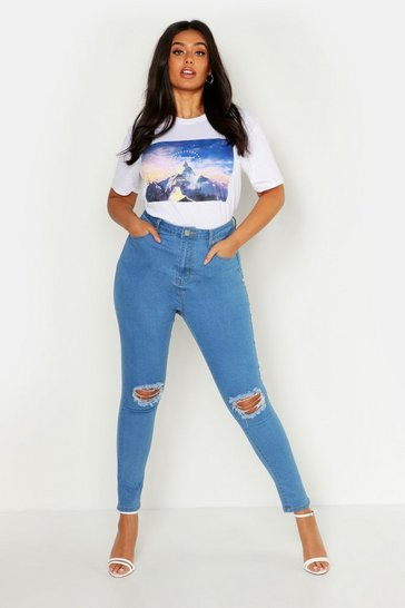 Light wash blue Plus Rip Knee Skinny Jegging