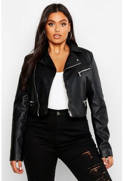 Black Plus Leather Look Stud Collar Cropped Biker Jacket