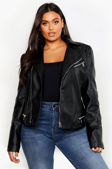 Black Plus Leather Look Zip Detail Biker Jacket