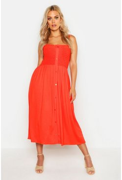 Orange Plus Button Detail Shirred Midi Dress