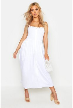 White Plus Button Detail Shirred Midi Dress