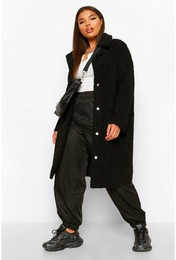 Black Plus Teddy Faux Fur Longline Coat