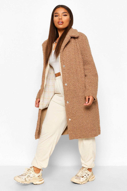Teddy Bear Coats Plus Teddy Faux Fur Longline Coat