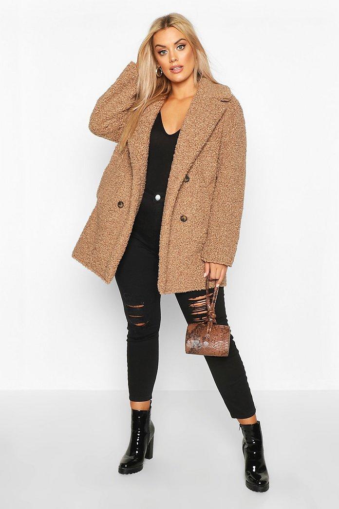 Boohoo Plus teddy coat in brown