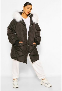 Black Plus Faux Fur Hooded Mid Length Puffer Coat